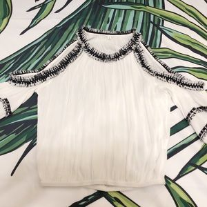 4c5750d09d SHEIN Tops | Black And White Detail Cold Shoulder Top | Poshmark